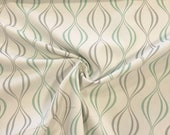 Decorative fabric, canvas, white, snake lines mint/grey