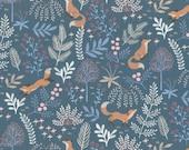 Cotton, Westphalian fabrics, Kitzbühel, matt blue foxes