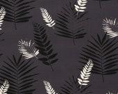 Jersey Nevio, anthracite, leaves/fern in black white