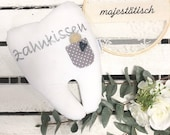 Tooth fee cushion grey, tooth pillow with bag and embroidery