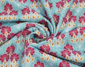 Jersey, blue, pink/ocker flowers