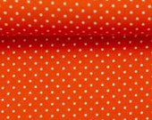 Cotton, orange dotted, dotted 2 mm