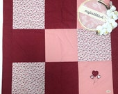 Patchwork blanket, red-pink, 100 x 100 cm, 3-ply