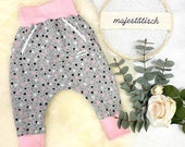 Pump pants size 80, grey, pink hearts with belly pocket