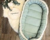 Baby nest, nest, reversible, mint, waffle lpique cotton