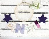 Name chain, letter garland purple-flieder-beige
