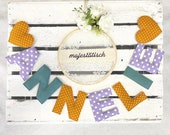 Name chain, letter garland mustard yellow-lilac-mint