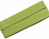 Jersey inclined band, light green, width 2 cm, pre-folded from 4 cm to 2 cm, length: 3 m