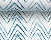 Jersey, Linda, Light Blue White, Chevron, Zigzag Lines