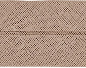VENO cotton slanted ribbon, beige-taupe, folded 40/20, width 2 cm, pre-folded from 4 cm to 2 cm