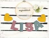Name chain, letter garland mustard yellow-mint-old pink