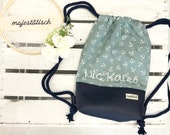 Gym bag with name, backpack for children, anchor, mint-blue