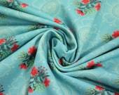 Jersey, light blue, flowers