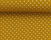 Cotton, mustard dotted, dots 2 mm