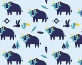 Cotton, Westphalian fabrics, Winnipeg, light blue, dark blue, bison