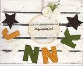 Name chain, letter garland mustard yellow-white-brown-green