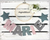 Name chain, letter garland pink-mint-grey