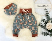 First set, baby set, pump pants, scarf, foxes, mint terracotta