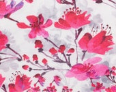 Jersey, white grey, red/ pink flowers