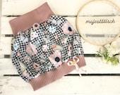 Pump skirt, skirt, balloon skirt, pepita, birds, flowers, pink-black