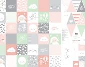 Cotton lycklig design, patchwork design, pink mint grey, pennant, cube, blanket