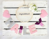 Name chain, letter garland pink-lilac-grey