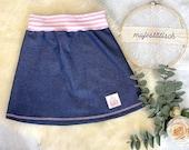 Pump skirt, skirt, A-line, denim jersey, dark blue