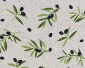 Decorative fabric, canvas, Emma linen look, olives, olive branches