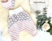 Pump pants and scarf, stripes pink-white, bunnies grey, size 80