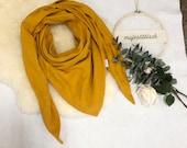 Large neckscarf/triangle scarf made of muslin uni mustard yellow