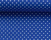 Cotton, royal blue dotted, dots 2 mm