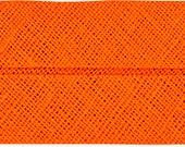 VENO cotton slanted ribbon, orange, folded 40/20, width 2 cm, pre-folded from 4 cm to 2 cm