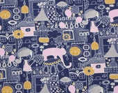 jersey, dark blue, pink, grey, mustard yellow, girl, elephant, city