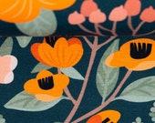 Jersey, Flowers, dark blue, flowers orange-white