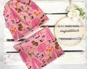 Cap set, beanie, neck sock, desired size, pink forest animals