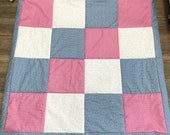 Patchwork blanket, blue-pink-white, 120 x 120 cm, 3-ply
