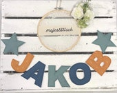 Name chain, letter garland mustard yellow-mint-blue