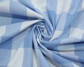 Cotton, white-blue light blue large plaid