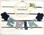 Name chain, letter garland mint-blue-grey