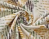 Jersey, beige, green/mustard/brown patterned