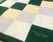 Patchwork blanket, green-yellow-grey, with name, 120 x 120 cm, 3-ply