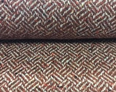 Knit fabric, wool, Michele 314, herringbone pattern, brown-white