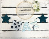 Name chain, letter garland petrol-white