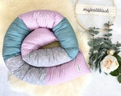 Cuddly roll with name, bed snake 180 x 11 cm, lilac-mint-grey