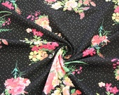 Jersey, Black, Dots, Roses, Flowers