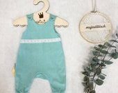 Romper, baby pants, mint with lace, size 62