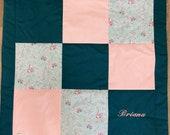 Patchwork blanket, altrsa-petrol-light blue, 100 x 100 cm, 3-ply