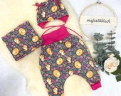 First set, baby set, pump pants Gr.86, neck sock/loop, cap KU 46, grey-pink, fox
