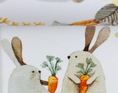Jersey, Autumn Bunny, white, rabbits with carrot