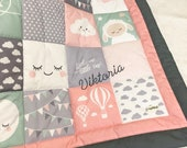 Patchwork blanket with name, pink-mint-grey, 100 x 100 cm, 3-ply
